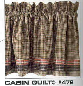Cabin Quilt Collection -Valances, Swags, Tiers, Shower Curtains, Runners, Placemats, etc