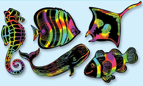 Scratch Art® Classroom Packs - Scratch Art Sea Life Scratchin' Shapes Group Pack [Home Decor]- Olde Church Emporium