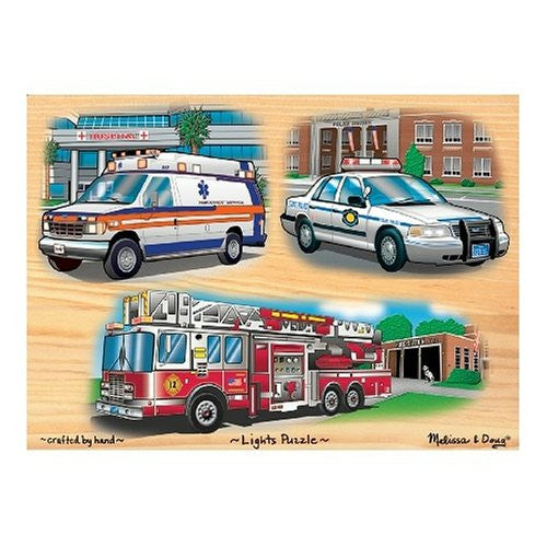 Melissa & Doug Deluxe Wooden Emergency Vehicles Light and Sound Peg Puzzle [Toy]