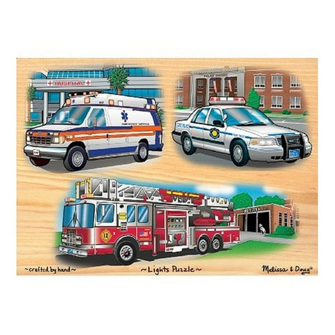 Melissa & Doug Deluxe Wooden Emergency Vehicles Light and Sound Peg Puzzle