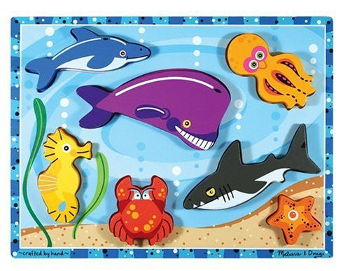 Melissa & Doug Sea Life Wooden Chunky Puzzle [Home Decor]- Olde Church Emporium