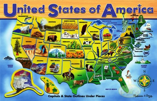 Melissa & Doug Deluxe Wooden USA Map Puzzle [Toy]