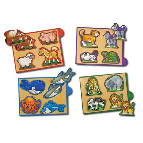 Melissa & Doug - Animals Wooden Mini-Puzzle Pack 4 Separate Puzzles