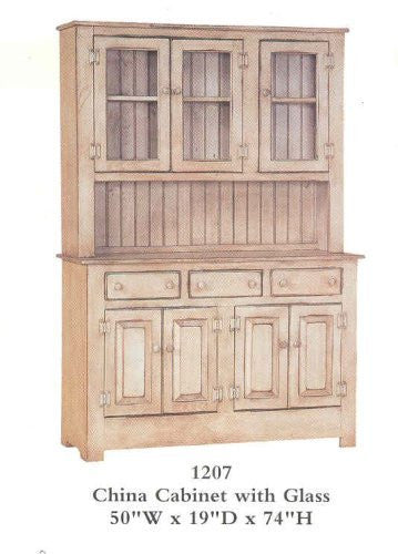 China Cabinet with Glass - Primitive Antique White [Home Decor]- Olde Church Emporium