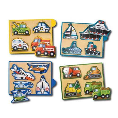 Melissa & Doug Vehicles Wooden Mini-Puzzle Pack 4 Separate Puzzles [Home Decor]- Olde Church Emporium