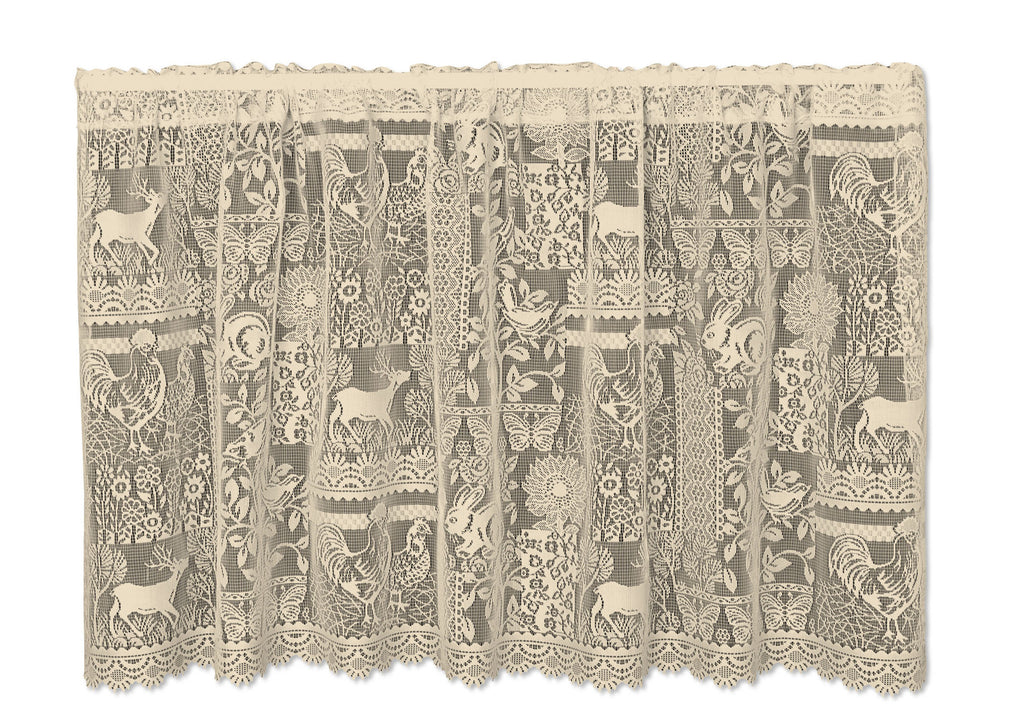 Delightful Heritage Lace   Woodland Patch   Curtains In White And Cafe Color