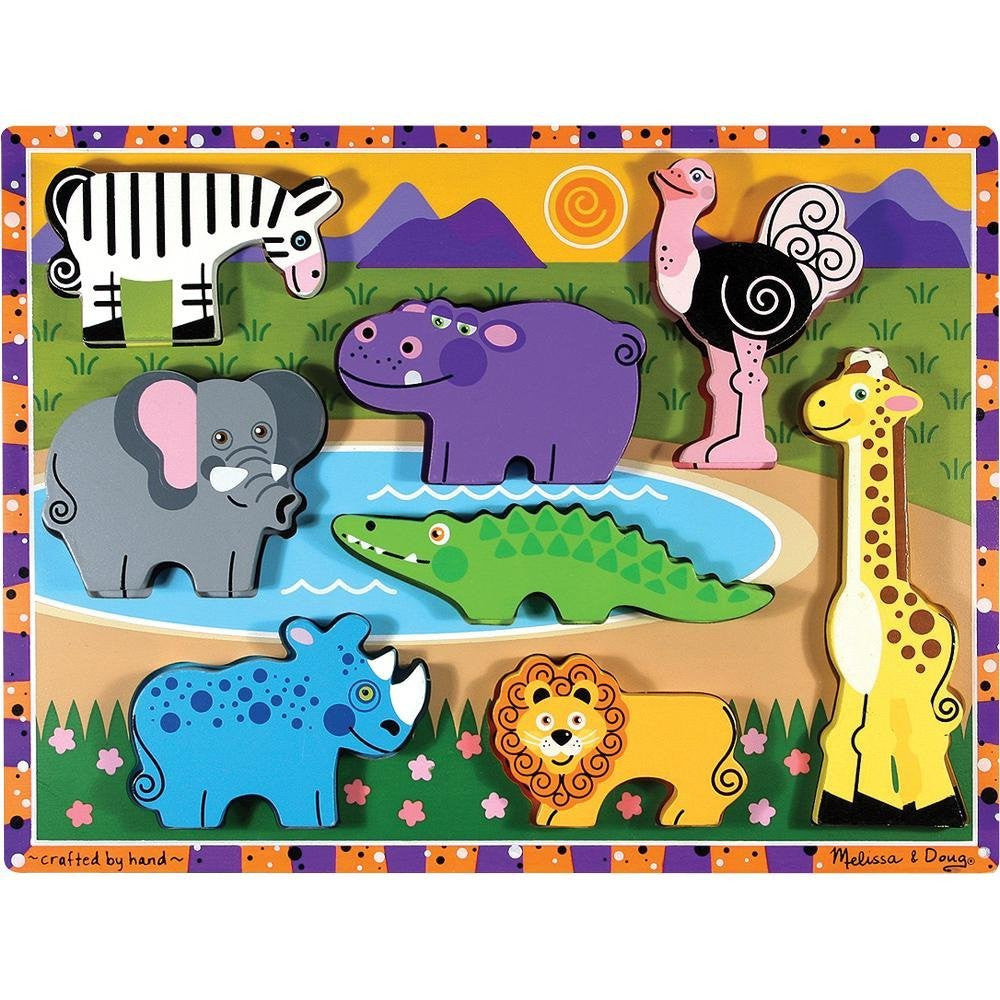 Melissa & Doug Deluxe Wooden Safari Chunky Puzzle [Toy]