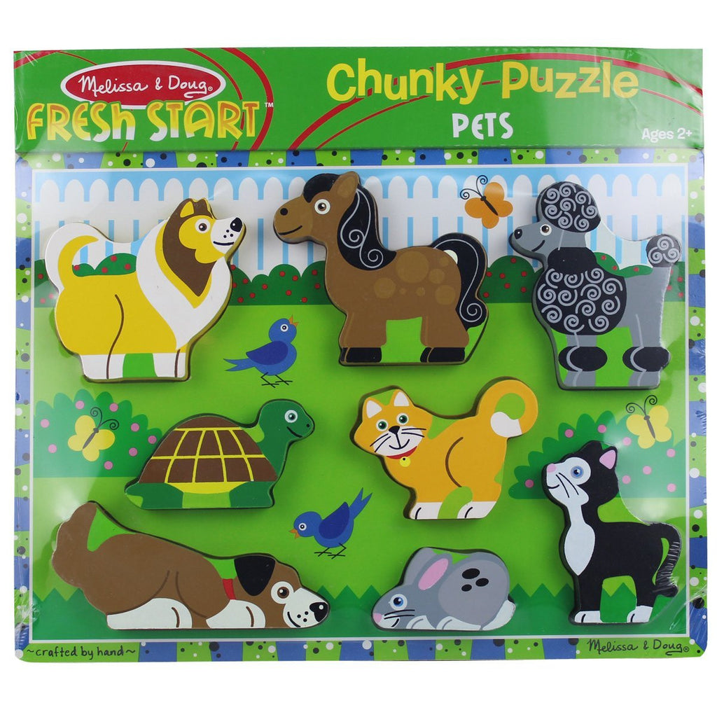 Melissa & Doug Pets Wooden Chunky Puzzle (8 Pieces) - Olde Church Emporium
