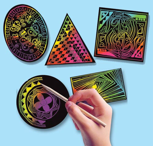 Scratch Art® Classroom Packs - Scratch Art Geometric Scratchin' Shapes; Group Pack