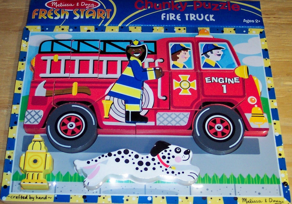 Melissa & Doug - Fire Truck Wooden Chunky Puzzle (18 pcs) - Olde Church Emporium