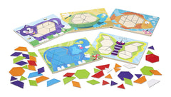 Melissa & Doug - Animal Pattern Blocks Set With 5 Double-Sided Wooden Boards and 47 Multi-Shaped Blocks [Home Decor]- Olde Church Emporium