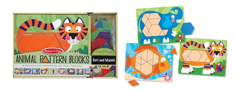 Melissa & Doug - Animal Pattern Blocks Set With 5 Double-Sided Wooden Boards and 47 Multi-Shaped Blocks