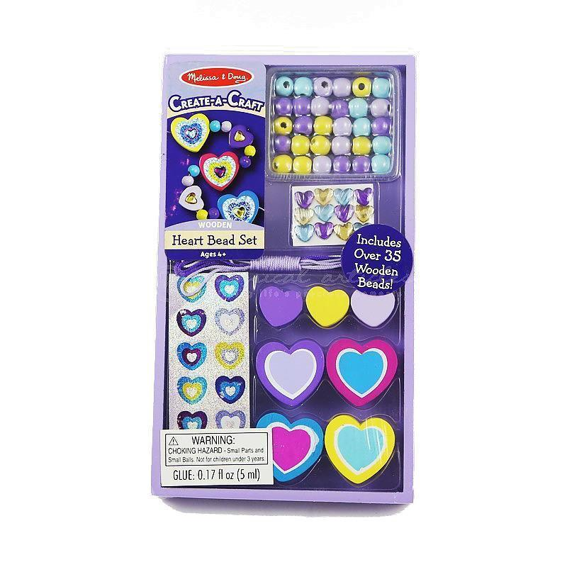 Melissa and Doug Decorate-your-own Wooden Heart Bead Set Ages 4 and UP
