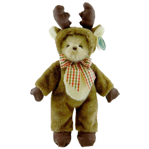 Bearington - Christmas Holiday Bear Bearly A Reindeer - 14 Inches and Retired