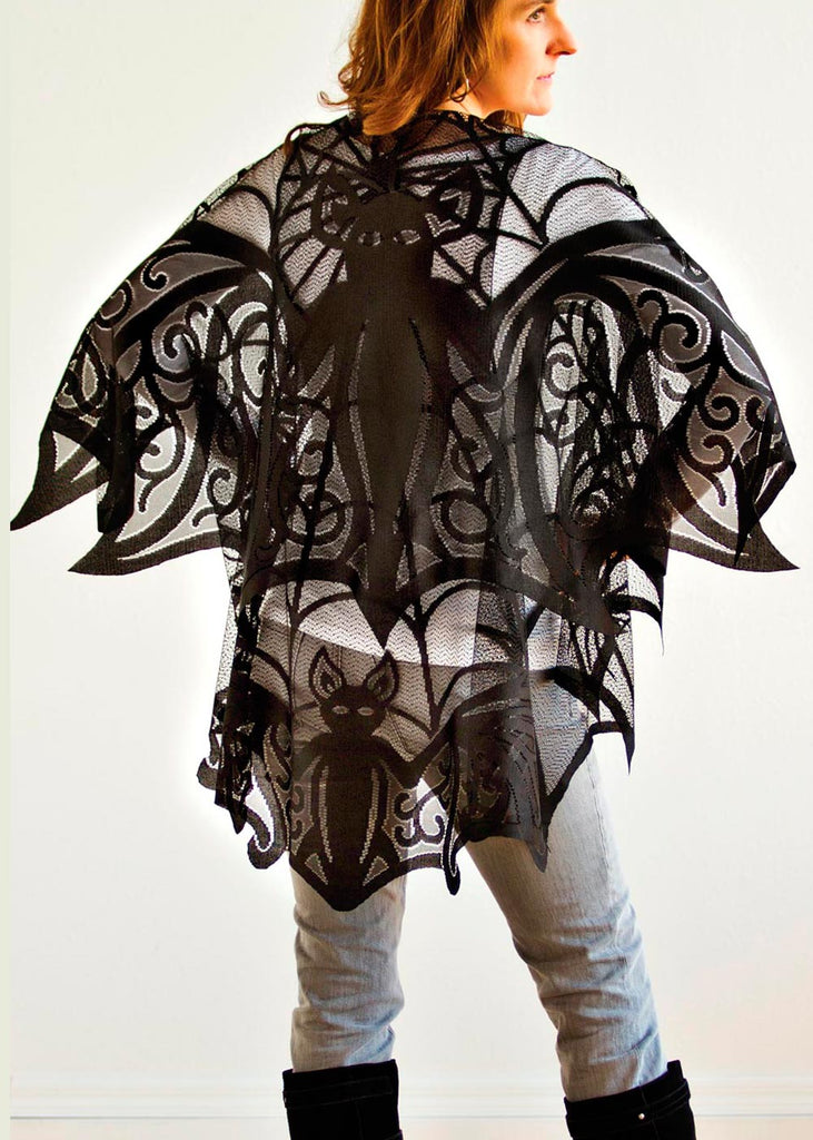 "Heritage lace BATS! CAPE Black 60"" x 62"" Halloween Made in USA. Fine-gauge lace - Olde Church Emporium"