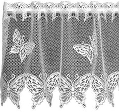 Heritage Butterflies Collection - Curtains, Placemats, Runners, Ecru White Made in U.S.A