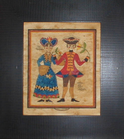Fractur - George and Martha, American Folk Art, Collectible, Affordable Art