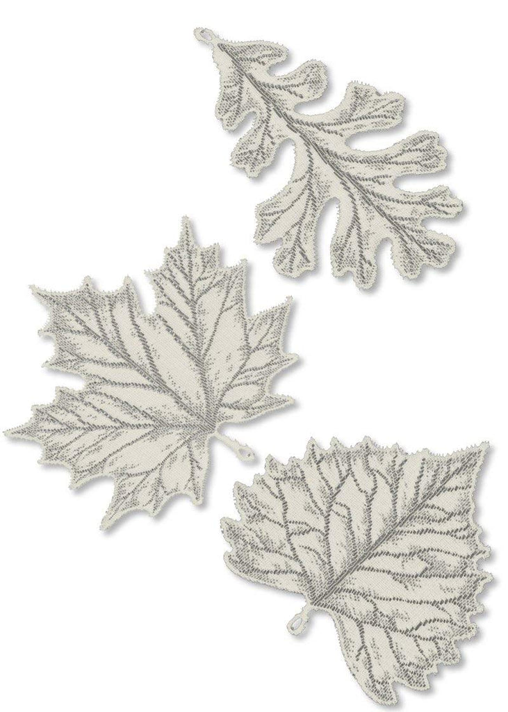 Heritage Lace 'Foliage Two 8-Inch and One 6-Inch Accent, Ecru, Set of 3 Made in USA