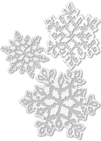 Heritage Lace Snow - 3 Snowflakes Window or Wall Accents White Made in USA