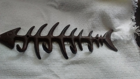 Cast Iron  -  Cast Iron Fish Scales Utility/Key Rack with 4 Hooks