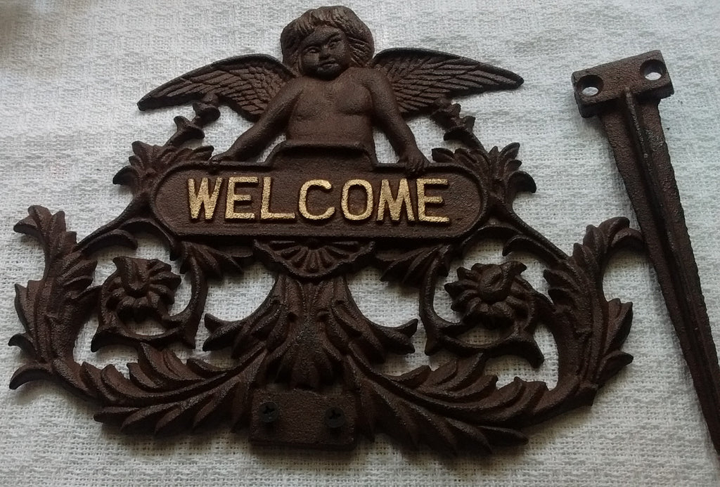 Cast Iron  -  Cast Iron Welcome Garden Stake - Angel - Olde Church Emporium