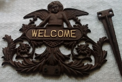 Cast Iron  -  Cast Iron Angel Welcome Garden Plaque - Angel with Stake Free Shipping