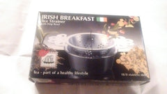The Empress Irish Breakfast Boxed Tea Strainer with Drip Bowl for Loose Leaf Tea 18/8 Stainless Steel - Olde Church Emporium