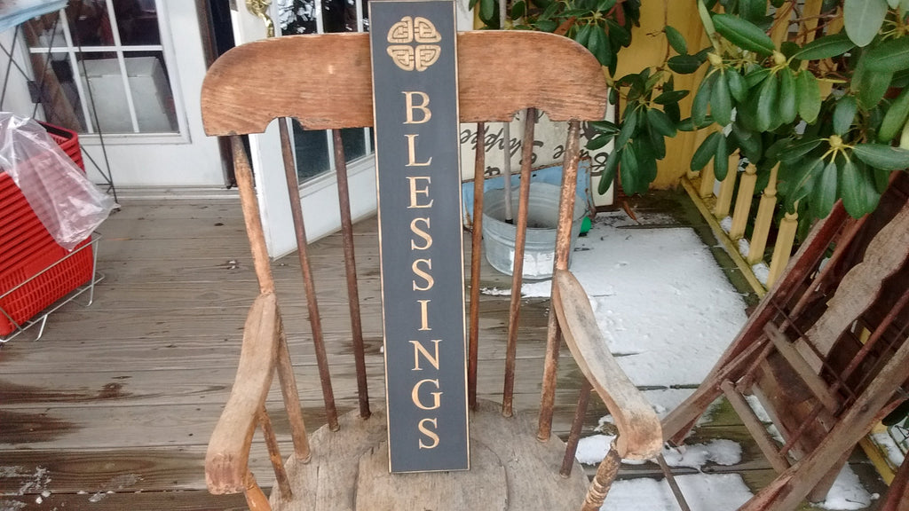 """Blessings"" Wooden Sign with Black Background Made in USA 30 Inches"
