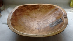 Rustic Primitive Hand Made Signed Wooden Bowls in Round Style Rectangular Style