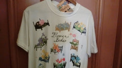 Hatley Flower Beds T Shirt  2 Sizes Medium, Large Size White Unisex - Olde Church Emporium
