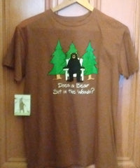 Hatley Does A Bear sit in the Woods T Shirt Medium Brown color Unisex Organic Cotton
