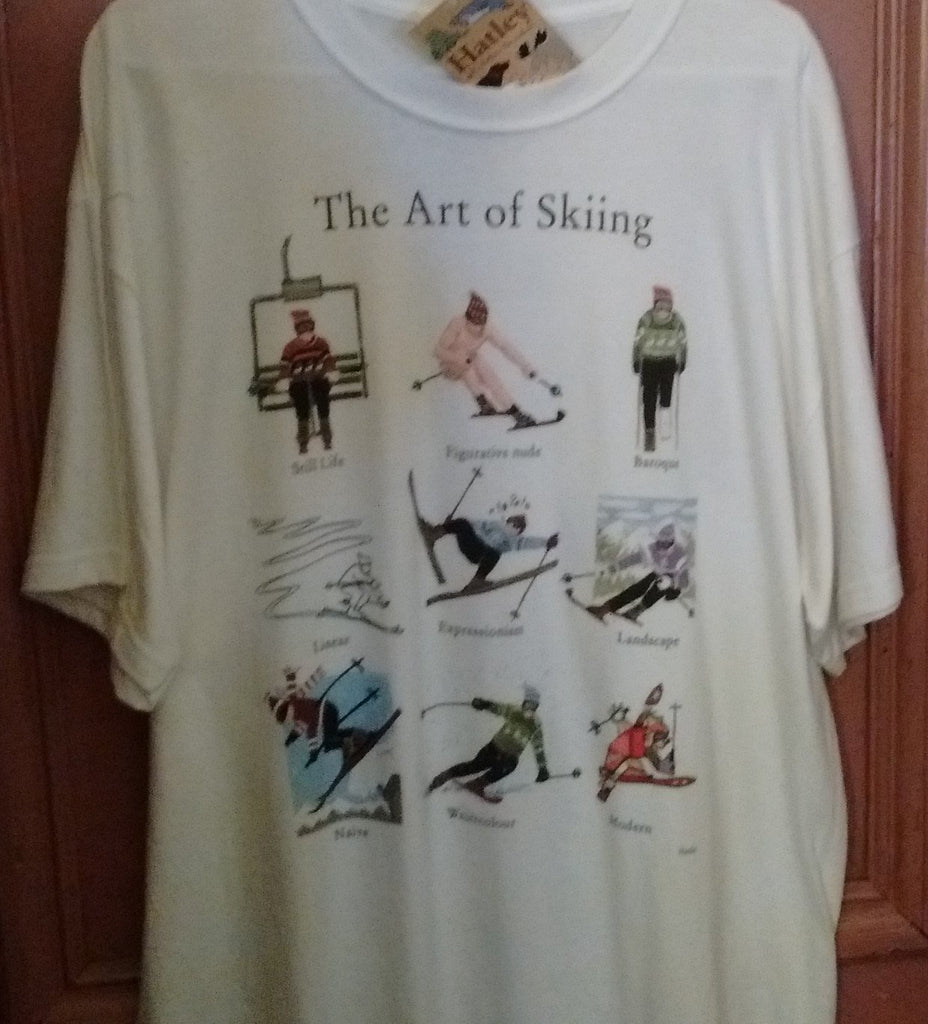 Hatley The Art of Skiing T Shirt X Large White color Unisex - Olde Church Emporium