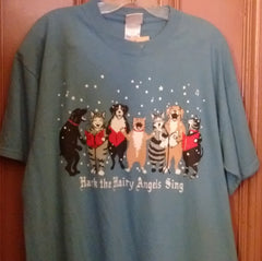 Hatley Hark the Hairy Angels Sing T Shirt Large Blue color Unisex
