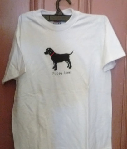 Puppy Love Cotton Tee Shirt White 3 Sizes White Small 6-8, Medium 10-12, Large 14-16
