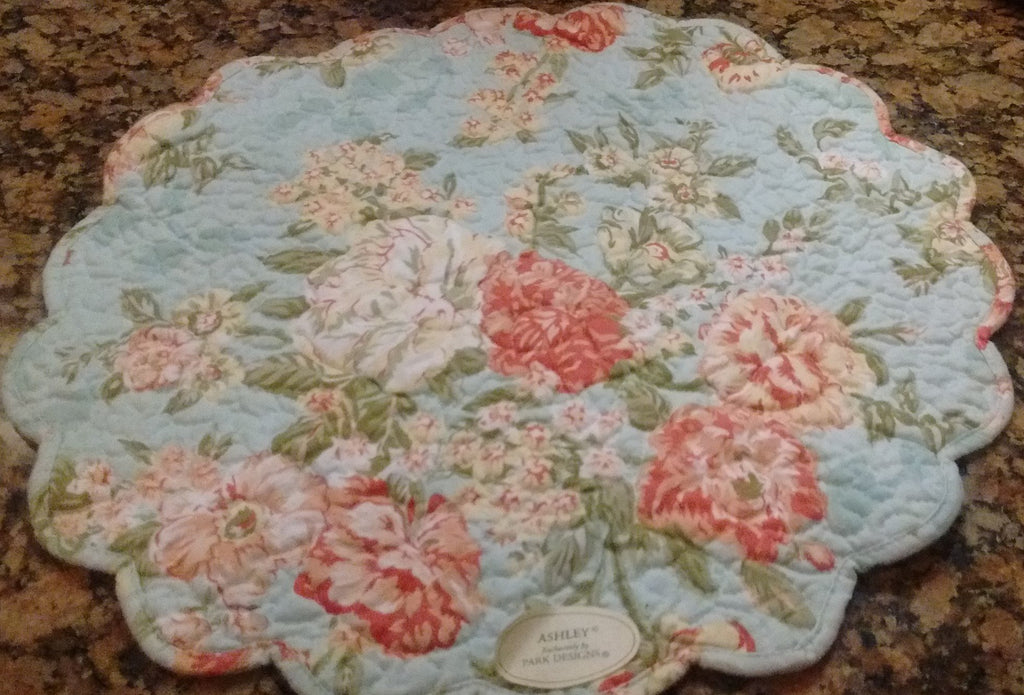 Park Designs Ashley Quilted Floral Placemats 17 Inch Diameter