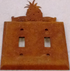 Rustic Sheet Metal Switch and Outlet Cover Plates -Single, Double, Triple Plates with Pineapple Topper