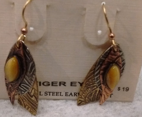 Silver Forest Hand Crafted Earrings Made in USA- Tiger Eye Earrings