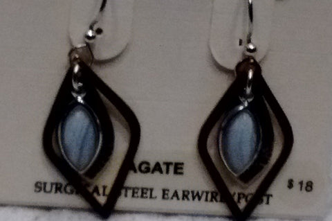 Silver Forest Hand Crafted Earrings Made in USA - Agate