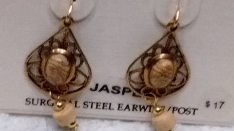 Silver Forest Hand Crafted Earrings Made in USA - Jasper
