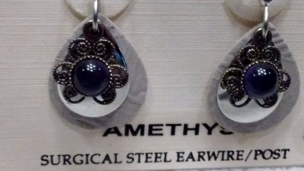 Silver Forest Hand Crafted Earrings Made in USA - Amethyst - Olde Church Emporium