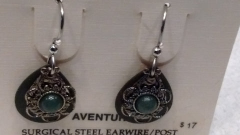 Silver Forest Hand Crafted Earrings Made in USA - Aventurine