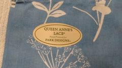 Park Design - Queen Anne's Lace Blue Valance, 72 x 14 Inches Hand Printed Design - Olde Church Emporium