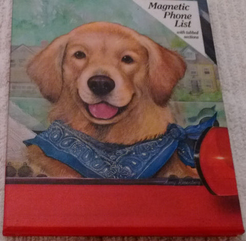 Legacy Puppy Dog Fridgemate Magnetic Phone List with Tabbed Sections