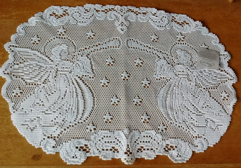 Heritage Lace Set Alpine Angels  14 X 20 Inches Placemats in White Set of 2 Made in USA