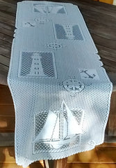 Heritage Lace Set Sail Runners, Placemats in White Nautical, Ship, Lighthouse Made in USA - Olde Church Emporium
