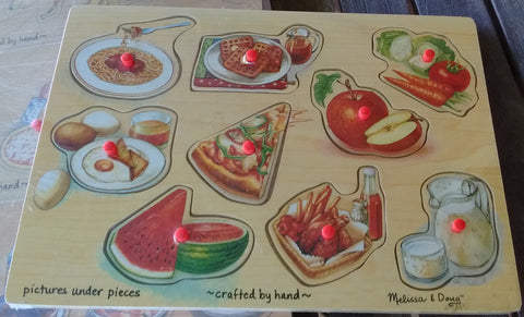 Melissa and Doug Wooden Food Peg Puzzle  - 9 Pcs Ages 2+
