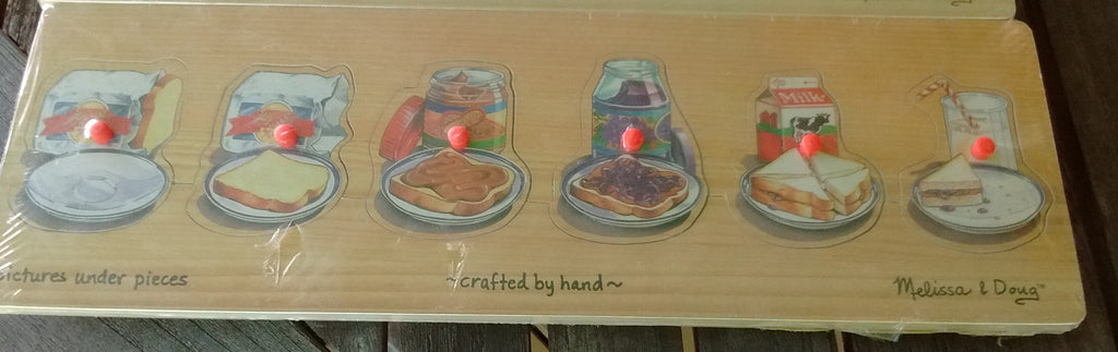 Melissa and Doug Wooden Progression Peg Puzzle-Making A PB and J Sandwich  - 6 Pcs Ages 2+