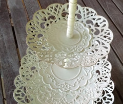 White Metal Cluny Lace Tiered Stand