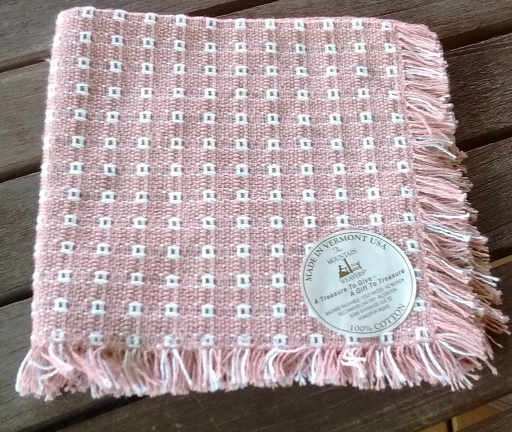 Homespun Napkin Dusty Rose 14 Inches Square Fringed Made in USA