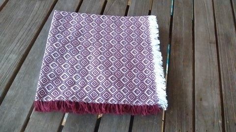 Homespun Cranberry and White Diamond Check Napkins 18 Inches Square Made in USA